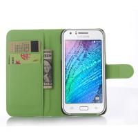 Чехол портмоне подставка на пластиковой основе на магнитной защелке для Samsung Galaxy J5 Зеленый
