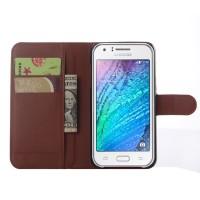 Чехол портмоне подставка на пластиковой основе на магнитной защелке для Samsung Galaxy J5 Коричневый