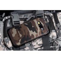 Двухкомпонентный силиконовый чехол с поликарбонатными вставками текстура Камуфляж для Samsung Galaxy J5 Коричневый
