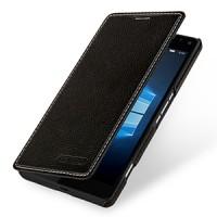 Кожаный чехол горизонтальная книжка (нат. кожа) для Microsoft Lumia 950 XL Черный