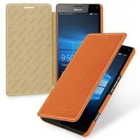 Кожаный чехол горизонтальная книжка (нат. кожа) для Microsoft Lumia 950 XL Оранжевый