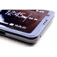 Чехол флип подставка с окном вызова и отделением для карты на силиконовой основе для Samsung Galaxy A3 (2016) Черный