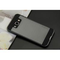Двухкомпонентный силиконовый матовый чехол с поликарбонатным бампером и крышкой для Samsung Galaxy J5 Серый