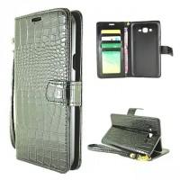 Чехол портмоне подставка текстура Крокодил на пластиковой основе на магнитной защелке для Samsung Galaxy J5