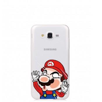 Ультратонкий силиконовый глянцевый полупрозрачный чехол с принтом для Samsung Galaxy J7