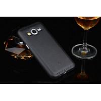 Силиконовый матовый непрозрачный чехол с текстурным покрытием Кожа для Samsung Galaxy J5