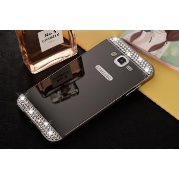 Двухкомпонентный чехол с металлическим бампером и поликарбонатной накладкой с зеркальным покрытием и стразами для Samsung Galaxy J5