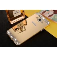 Двухкомпонентный чехол с металлическим бампером и поликарбонатной накладкой с зеркальным покрытием и стразами для Samsung Galaxy J5 Бежевый
