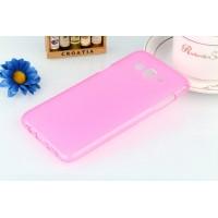 Силиконовый матовый полупрозрачный чехол для Samsung Galaxy J5 Розовый