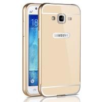 Двухкомпонентный чехол с металлическим бампером и поликарбонатной накладкой с отверстием для логотипа для Samsung Galaxy J5 Бежевый