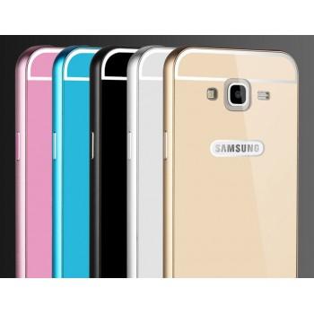 Двухкомпонентный чехол с металлическим бампером и поликарбонатной накладкой с отверстием для логотипа для Samsung Galaxy J5