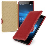 Кожаный чехол горизонтальная книжка (нат. кожа) с крепежной застежкой для Microsoft Lumia 950 XL Красный
