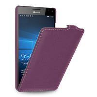 Кожаный чехол вертикальная книжка (нат. кожа) для Microsoft Lumia 950 XL Фиолетовый