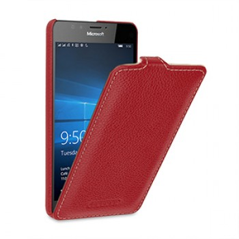 Кожаный чехол вертикальная книжка (нат. кожа) для Microsoft Lumia 950