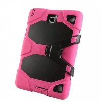 Противоударный двухкомпонентный силиконовый чехол с поликарбонатными вставками для экстрим защиты и ножкой-подставкой для Samsung Galaxy Tab A 9.7 Розовый