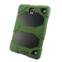 Противоударный двухкомпонентный силиконовый чехол с поликарбонатными вставками для экстрим защиты и ножкой-подставкой для Samsung Galaxy Tab A 9.7 Зеленый