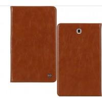 Кожаный чехол подставка на поликарбонатной непрозрачной основе для Samsung Galaxy Tab A 9.7 Коричневый