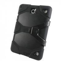 Противоударный двухкомпонентный силиконовый чехол с поликарбонатными вставками для экстрим защиты и встроенной ножкой-подставкой для Samsung Galaxy Tab A 8 Черный