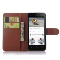 Чехол портмоне подставка с защелкой для Alcatel One Touch Pixi 3 (4.5) Коричневый
