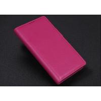 Кожаный чехол портмоне (нат. кожа) с крепежной застежкой для Blackberry Priv Пурпурный