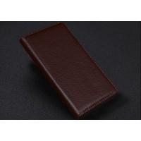 Кожаный чехол портмоне (нат. кожа) с крепежной застежкой для Blackberry Priv Коричневый
