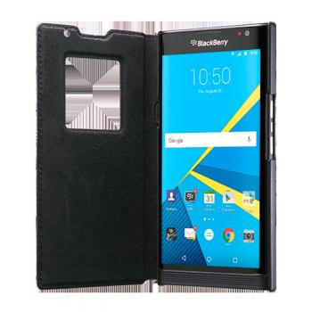 Оригинальный кожаный чехол флип на пластиковой основе с окном вызова (нат. кожа) для Blackberry Priv