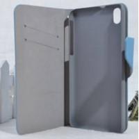Текстурный чехол флип подставка на пластиковой основе с отделением для карт для HTC Desire 816 Голубой