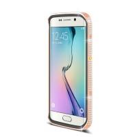 Дизайнерский металлический бампер с инкрустацией стразами и магнитным съемным флипом подставкой с окном вызова и свайпом для Samsung Galaxy S6 Edge