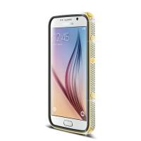 Дизайнерский металлический бампер с инкрустацией стразами и магнитным съемным флипом подставкой с окном вызова и свайпом для Samsung Galaxy S6