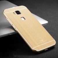 Двухкомпонентный чехол с металлическим бампером с золотой окантовкой и поликарбонатной накладкой для Huawei G8 Бежевый