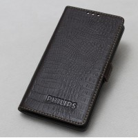 Кожаный чехол горизонтальная книжка (нат. кожа крокодила) для Philips S616 Коричневый