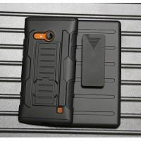 Антиударный гибридный чехол экстрим защита силикон/поликарбонат с подставкой для Nokia Lumia 730/735 Черный