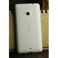 Силиконовый глянцевый непрозрачный чехол для Nokia Lumia 730/735 Белый