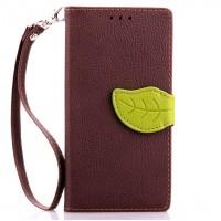 Текстурный чехол портмоне подставка с дизайнерской застежкой для Samsung Galaxy A3 Коричневый