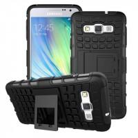 Антиударный гибридный чехол экстрим защита силикон/поликарбонат для Samsung Galaxy A3 Черный
