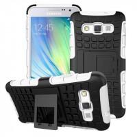 Антиударный гибридный чехол экстрим защита силикон/поликарбонат для Samsung Galaxy A3 Белый