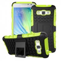 Антиударный гибридный чехол экстрим защита силикон/поликарбонат для Samsung Galaxy A3 Зеленый