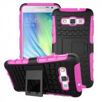 Антиударный гибридный чехол экстрим защита силикон/поликарбонат для Samsung Galaxy A3 Пурпурный