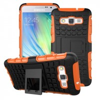 Антиударный гибридный чехол экстрим защита силикон/поликарбонат для Samsung Galaxy A3 Оранжевый