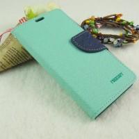 Текстурный чехол портмоне на силиконовой основе с дизайнерской застежкой для Samsung Galaxy A3 Голубой