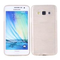 Силиконовый матовый непрозрачный чехол текстура Металл для Samsung Galaxy A3 Бежевый