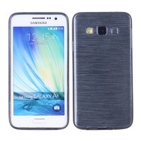 Силиконовый матовый непрозрачный чехол текстура Металл для Samsung Galaxy A3