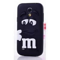 Силиконовый объемный M&M чехол для Samsung Galaxy S4 Mini Черный