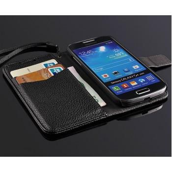 Чехол портмоне подставка на пластиковой основе с магнитной защелкой для Samsung Galaxy S4 Mini