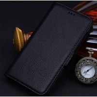 Кожаный чехол горизонтальная книжка (нат. кожа) с крепежной застежкой для Lenovo Vibe Z2 Pro Черный