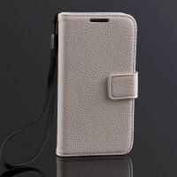 Чехол портмоне подставка на пластиковой основе с магнитной защелкой для Samsung Galaxy S4 Mini Белый