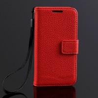 Чехол портмоне подставка на пластиковой основе с магнитной защелкой для Samsung Galaxy S4 Mini Красный