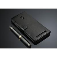 Глянцевый чехол портмоне подставка с защелкой для ASUS Zenfone 6 Черный