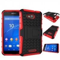 Антиударный гибридный чехол экстрим защита силикон/поликарбонат для Sony Xperia E4g Красный
