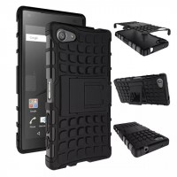 Антиударный гибридный чехол экстрим защита силикон/поликарбонат для Sony Xperia Z5 Compact Черный